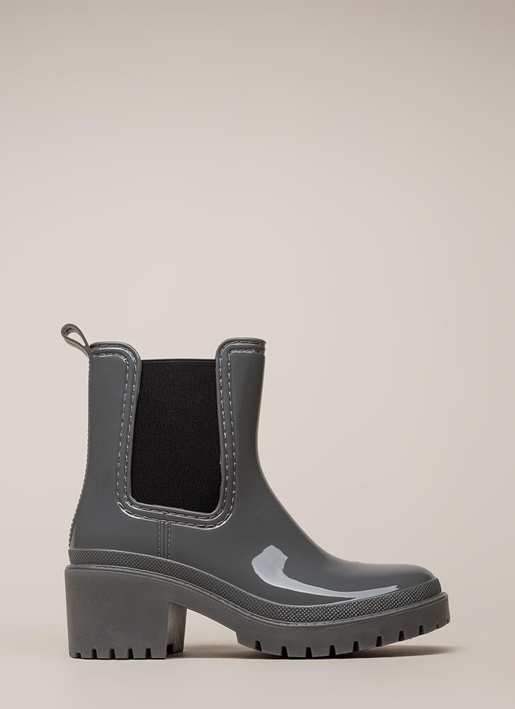 Ready For This Jelly Block Heel Booties GREY (You Saved $29)