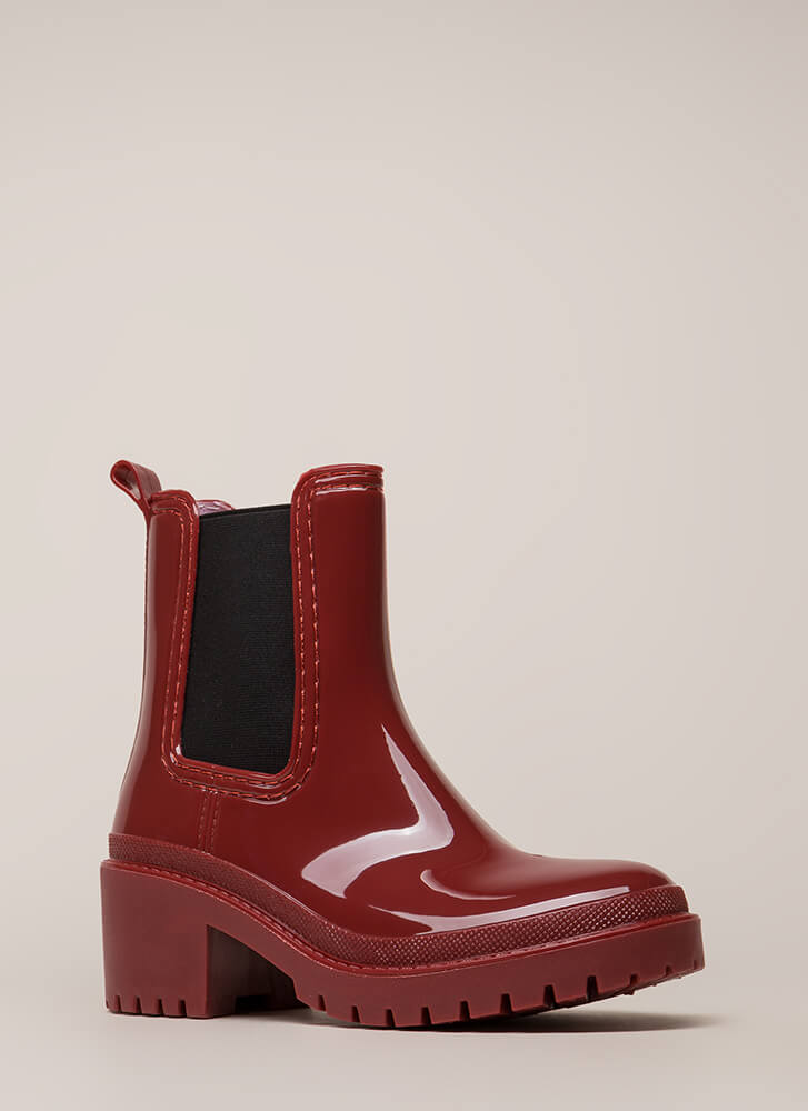 Ready For This Jelly Block Heel Booties WINE
