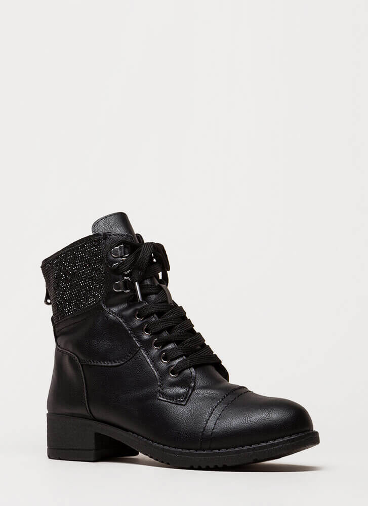 Bling The Fire Jeweled Combat Boots BLACK