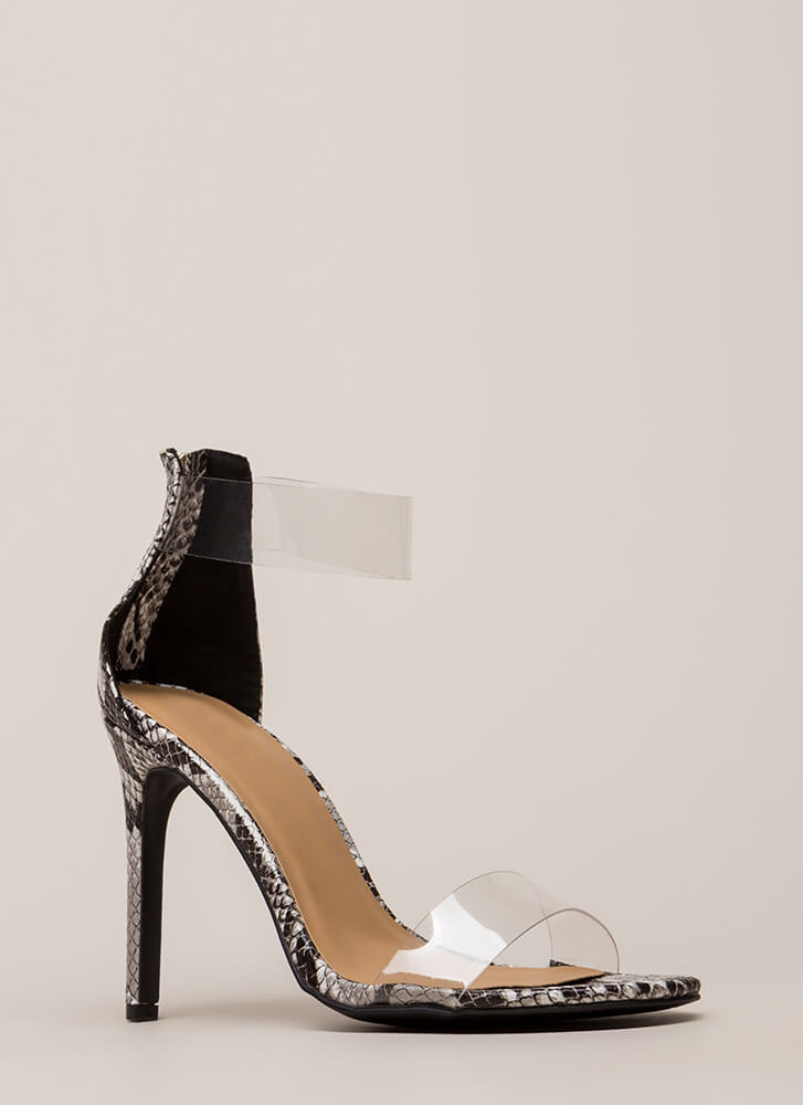 See Clearly Faux Snake Illusion Heels by Go Jane