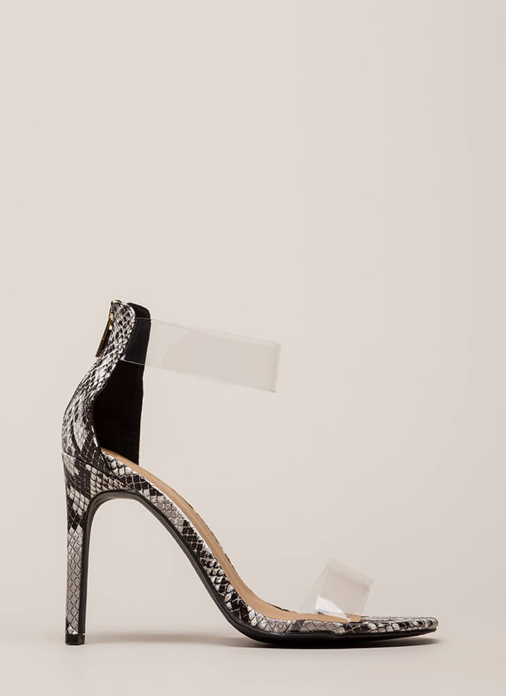 See Clearly Faux Snake Illusion Heels BLACK