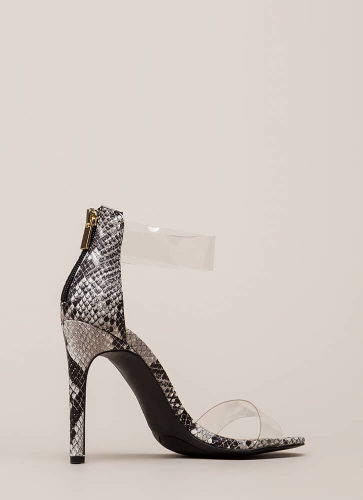 See Clearly Faux Snake Illusion Heels BLACK (You Saved $15)