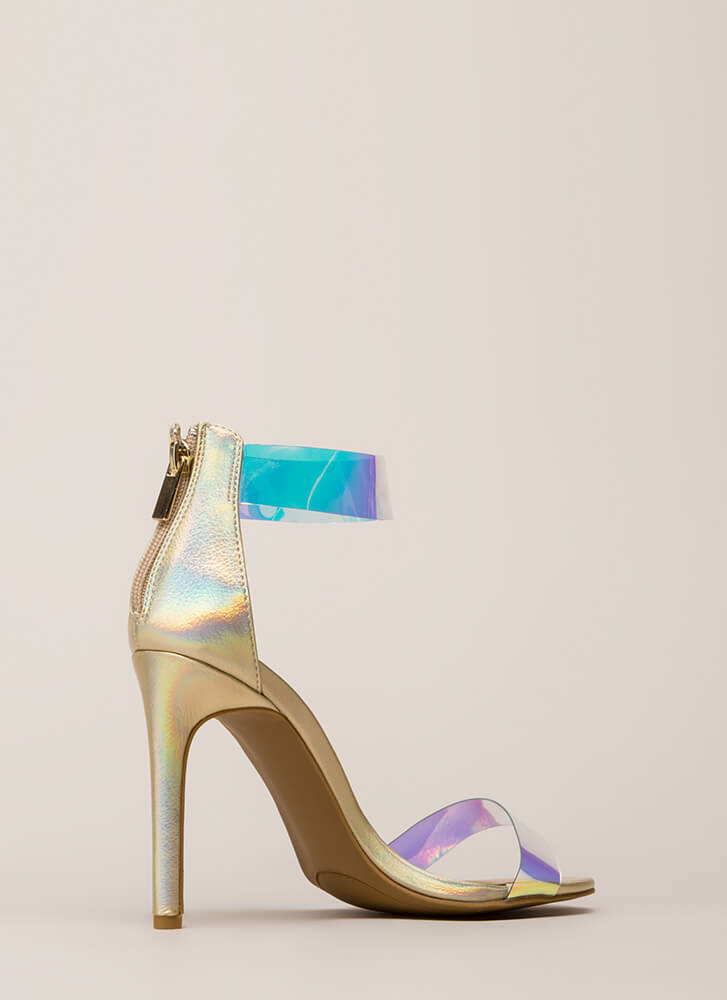 See Clearly Metallic Holographic Heels GOLD