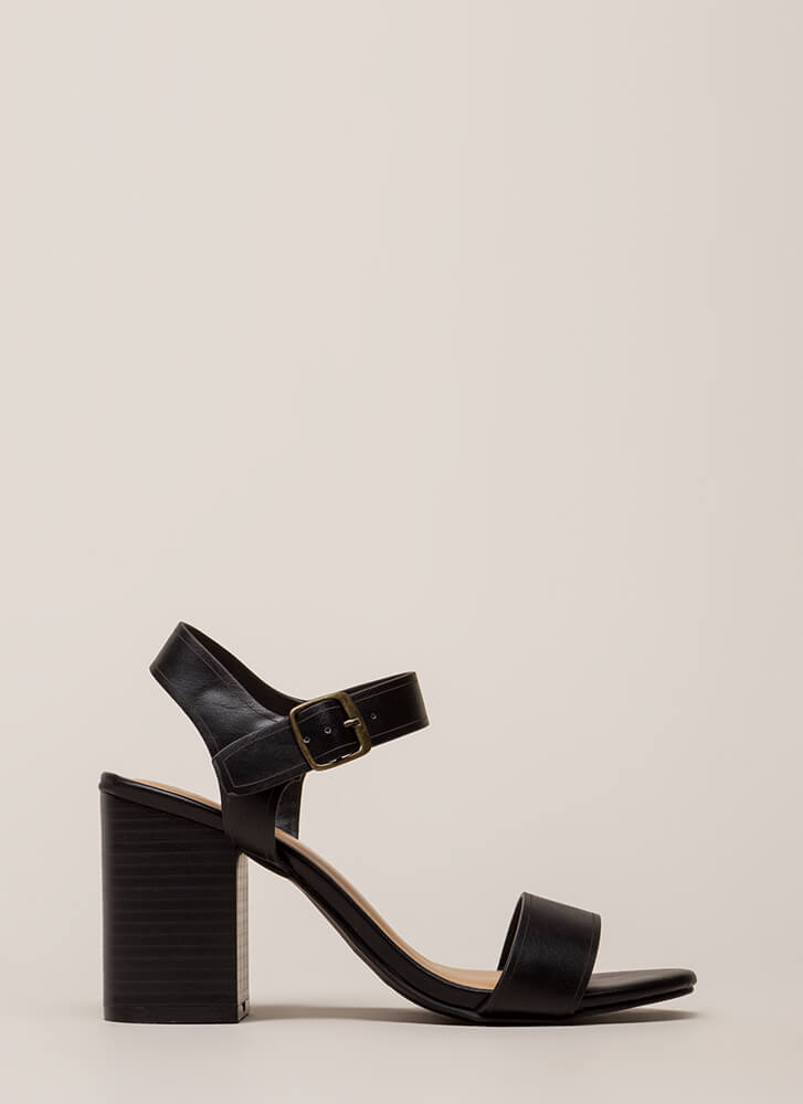 Faithfully Chunky Strappy Heels BLACK