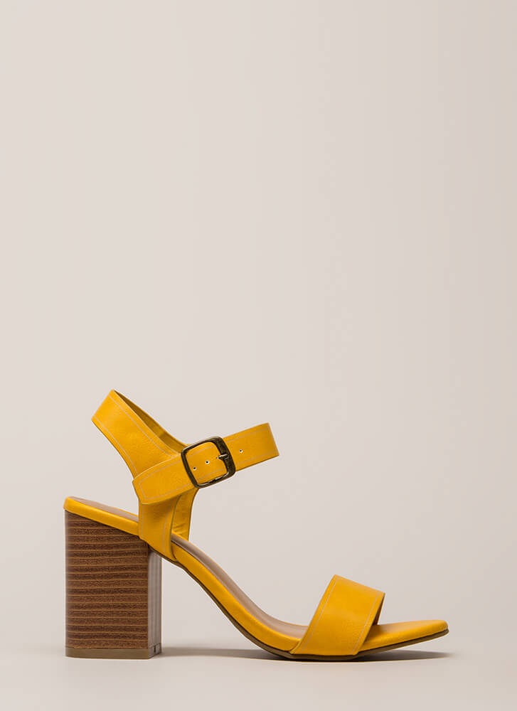 Faithfully Chunky Strappy Heels MARIGOLD