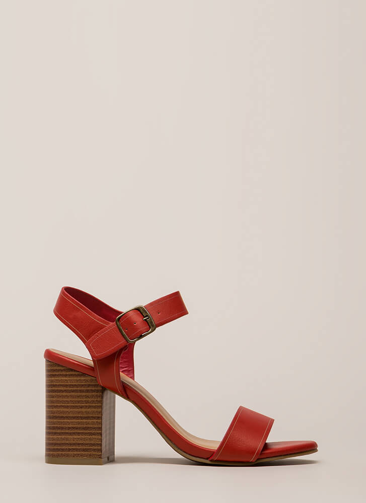 Faithfully Chunky Strappy Heels RED