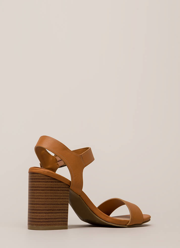 Faithfully Chunky Strappy Heels TAN