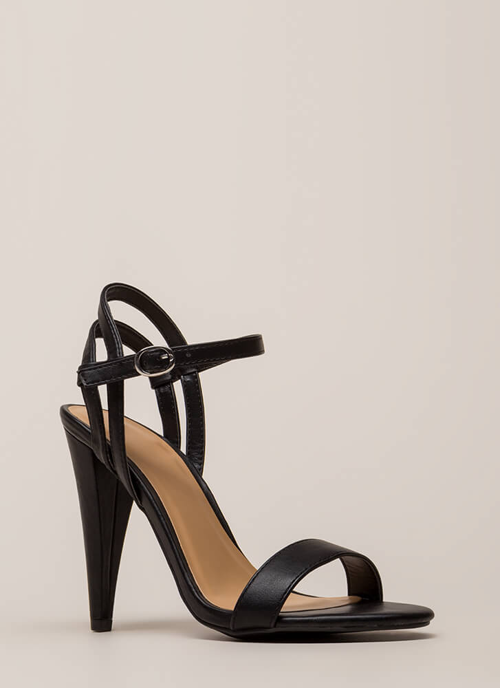 Smashing Strappy Faux Leather Cone Heels BLACK
