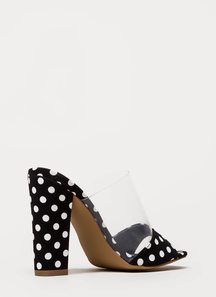 Devoted Chunky Clear Peep-Toe Mule Heels CLEAR