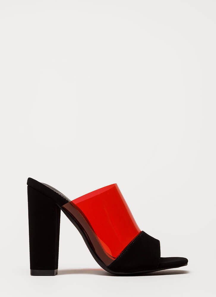 Devoted Chunky Clear Peep-Toe Mule Heels RED