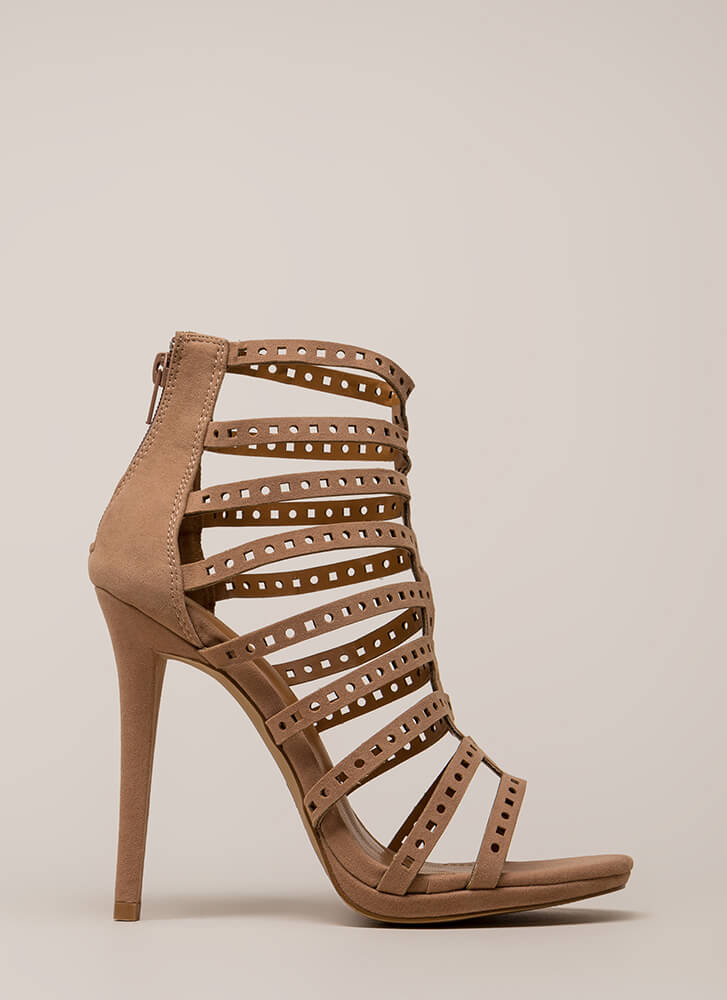 Shape Up Strappy Caged Cut-Out Heels TAUPE