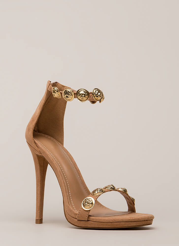 Flip A Coin Medallion Strap Heels TAUPE
