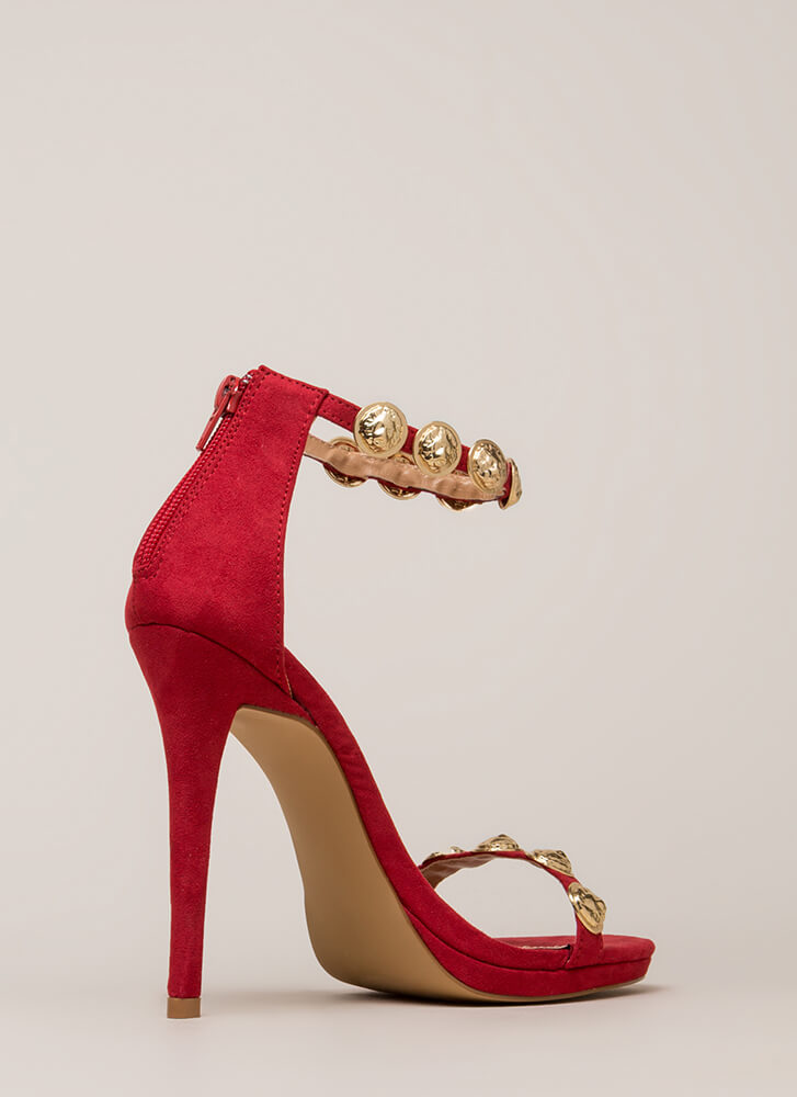 Flip A Coin Medallion Strap Heels WINE (You Saved $27)