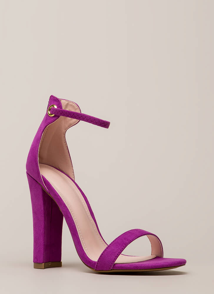 Pack A Punch Chunky Ankle Strap Heels BERRY