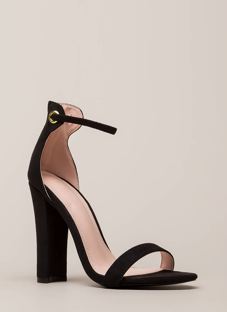 Pack A Punch Chunky Ankle Strap Heels BLACK