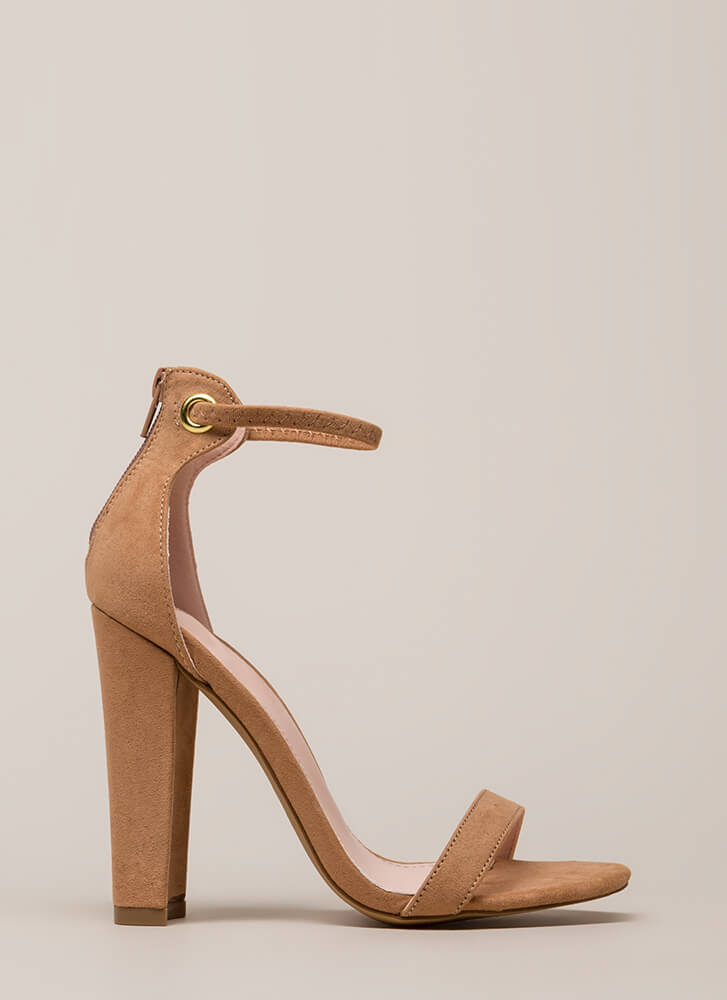 Pack A Punch Chunky Ankle Strap Heels TAUPE