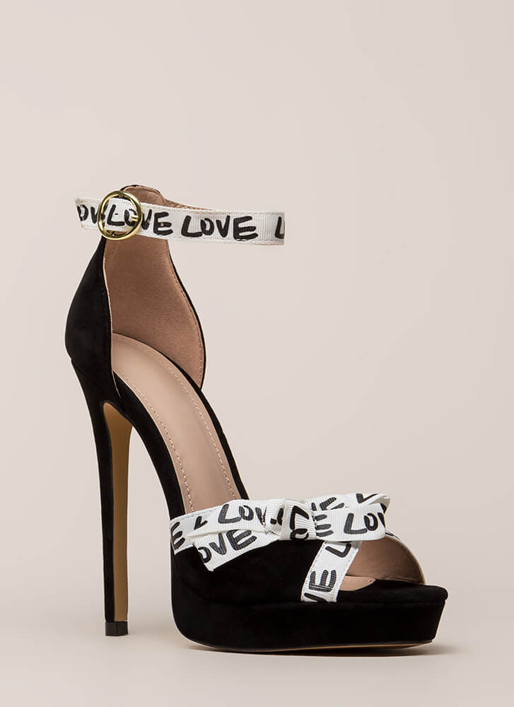 New Love Graphic Peep-Toe Platforms BLACK (You Saved $25)