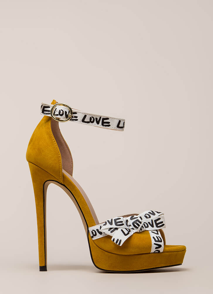 New Love Graphic Peep-Toe Platforms MUSTARD (You Saved $25)