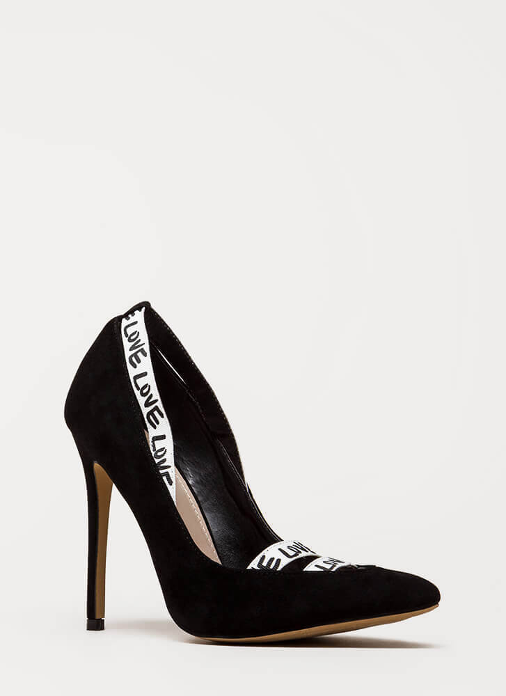 New Love Strappy Graphic Pumps BLACK