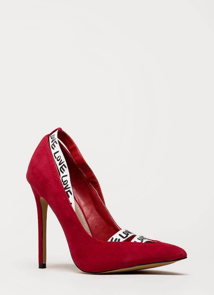 New Love Strappy Graphic Pumps RED