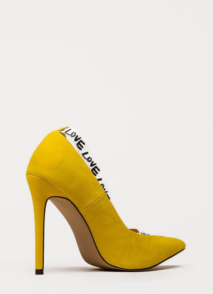 New Love Strappy Graphic Pumps YELLOW