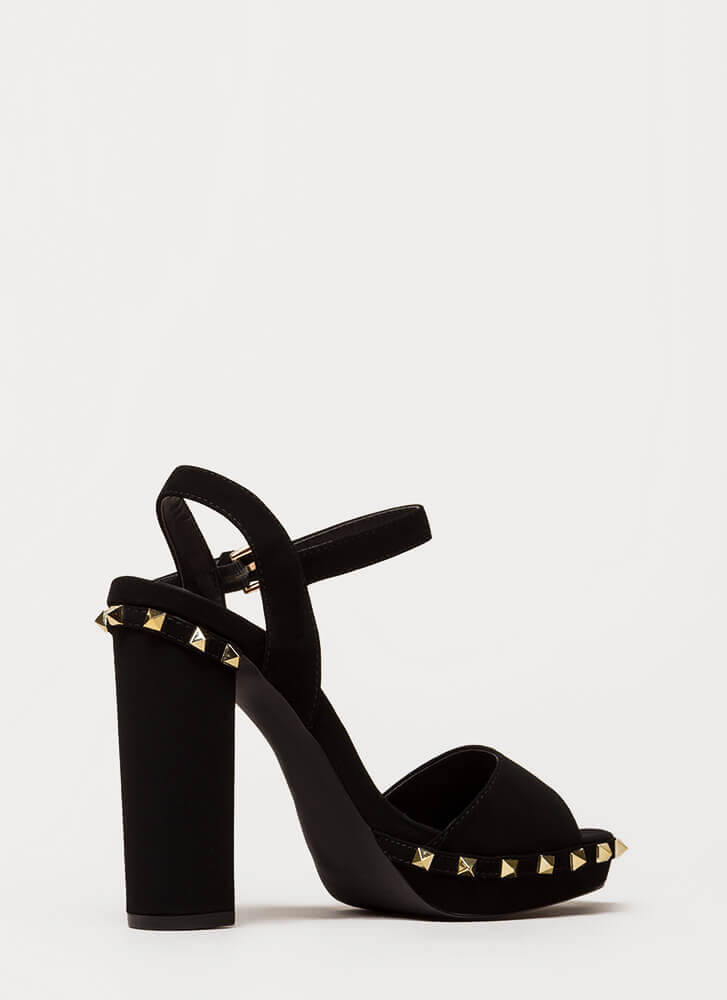 Let's Rock Studded Peep-Toe Platforms BLACK