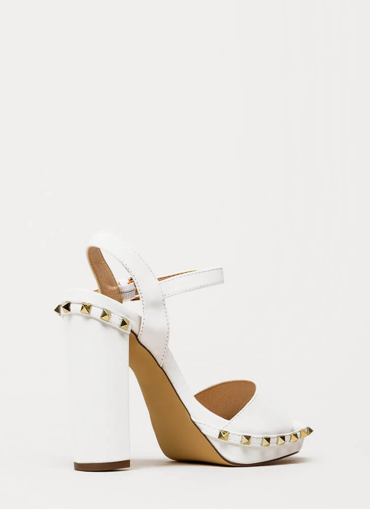Let's Rock Studded Peep-Toe Platforms WHITE