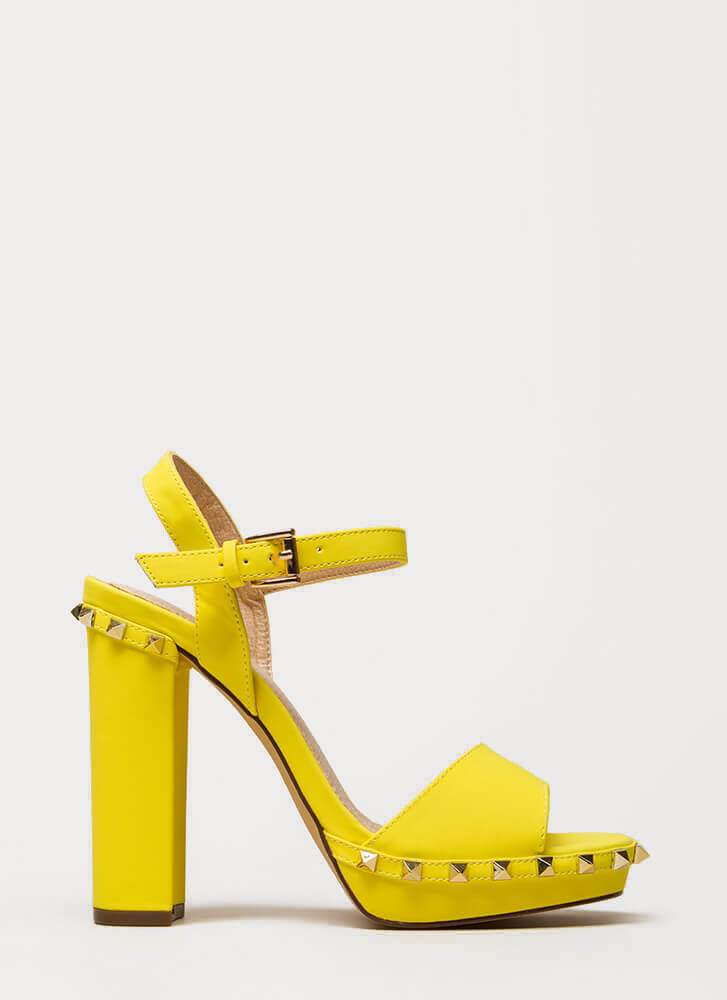 Let's Rock Studded Peep-Toe Platforms YELLOW