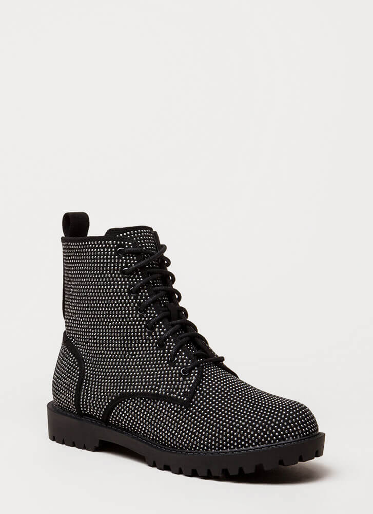 Women At Work Studded Lug Boots BLACK