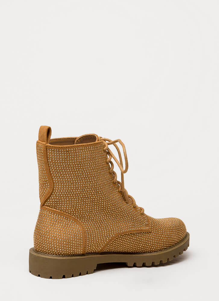 Women At Work Studded Lug Boots CAMEL