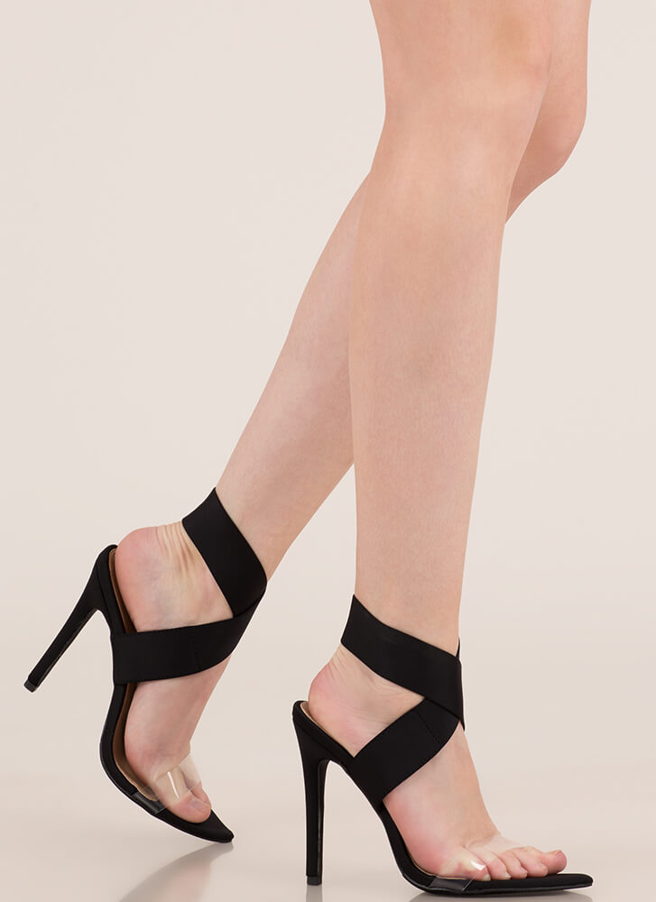 X Communication Banded Clear Strap Heels BLACK