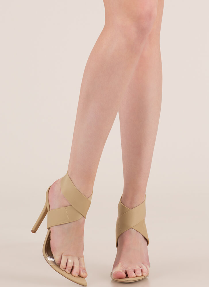 X Communication Banded Clear Strap Heels NUDE