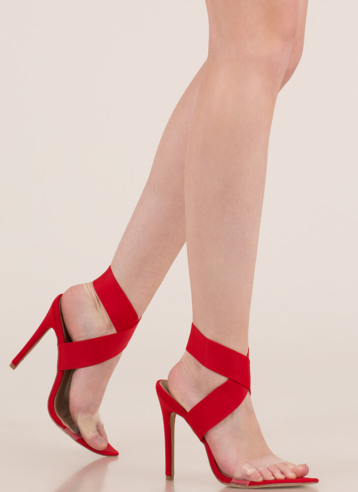 X Communication Banded Clear Strap Heels RED