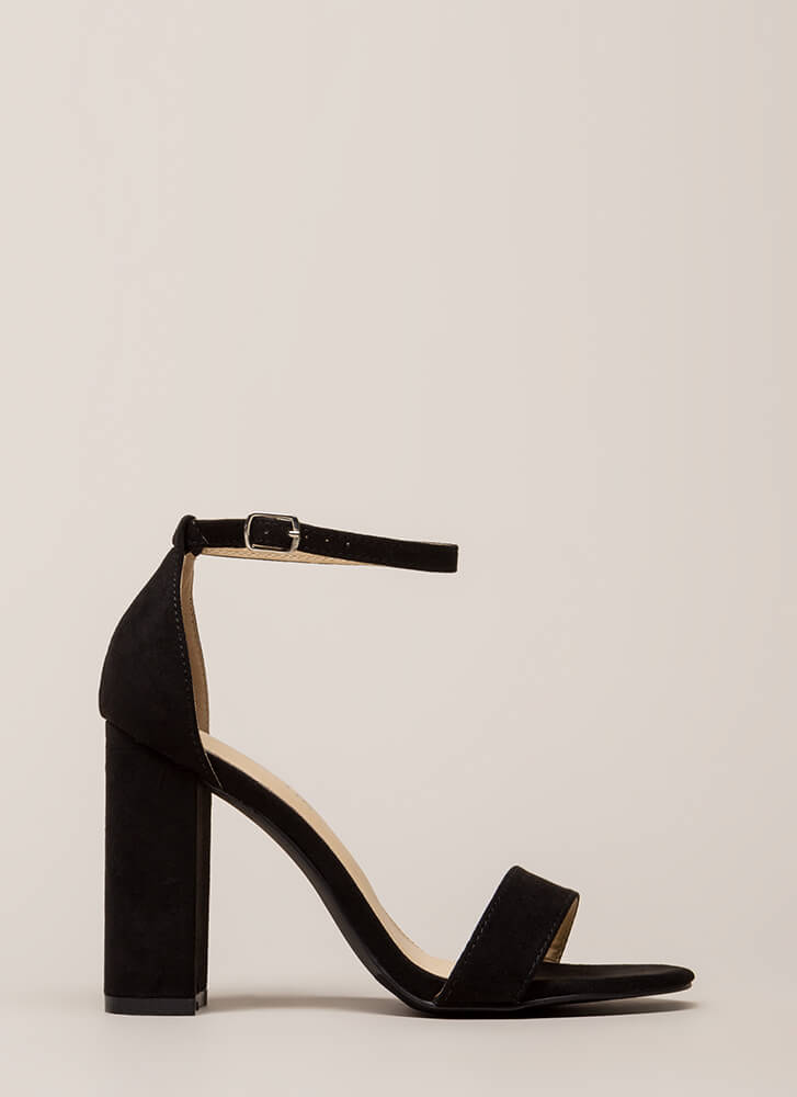 Go Strappy Chunky Faux Suede Heels BLACK (Final Sale)