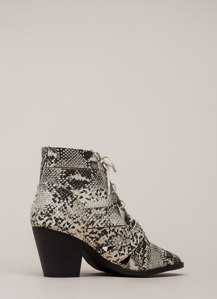 Rattled Strappy Faux Snake Booties STONEBLACK