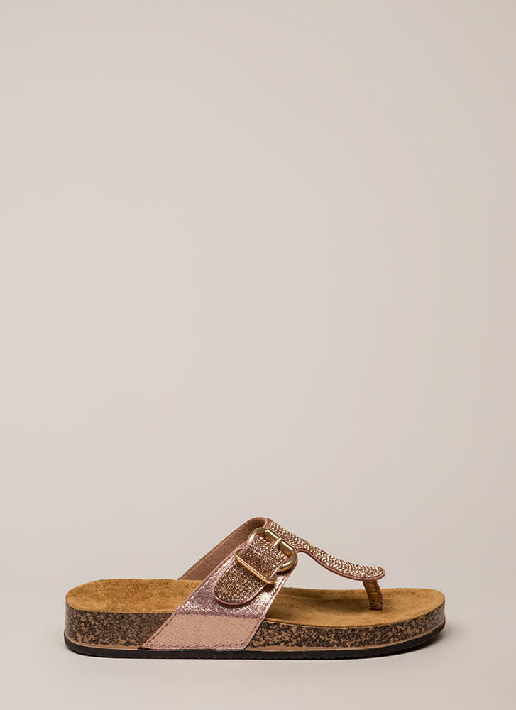 Hippie Bling Jeweled Thong Sandals ROSEGOLD (You Saved $11)
