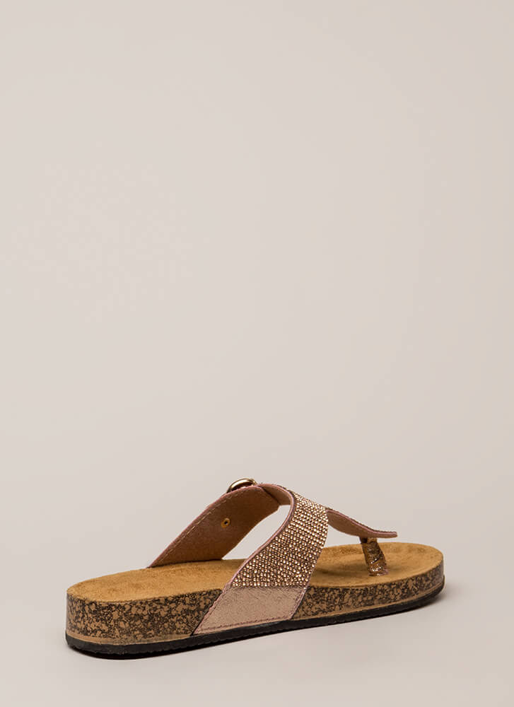 Hippie Bling Jeweled Thong Sandals ROSEGOLD