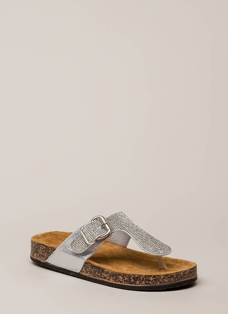Hippie Bling Jeweled Thong Sandals SILVER