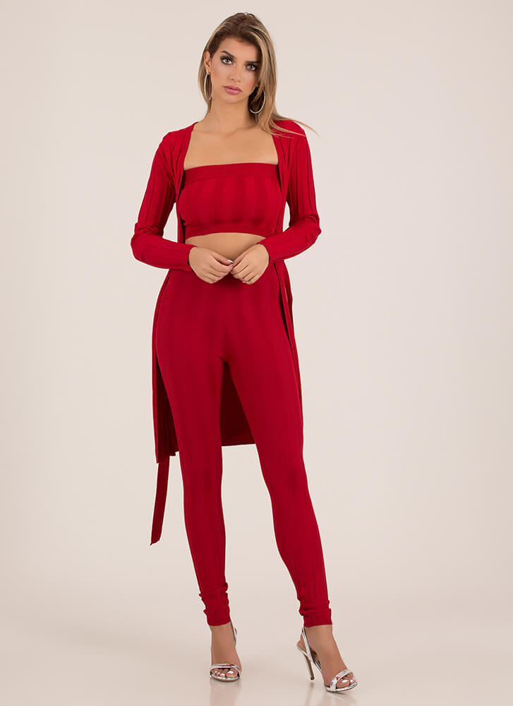 Rib Me Apart 3-Piece Duster Set RED