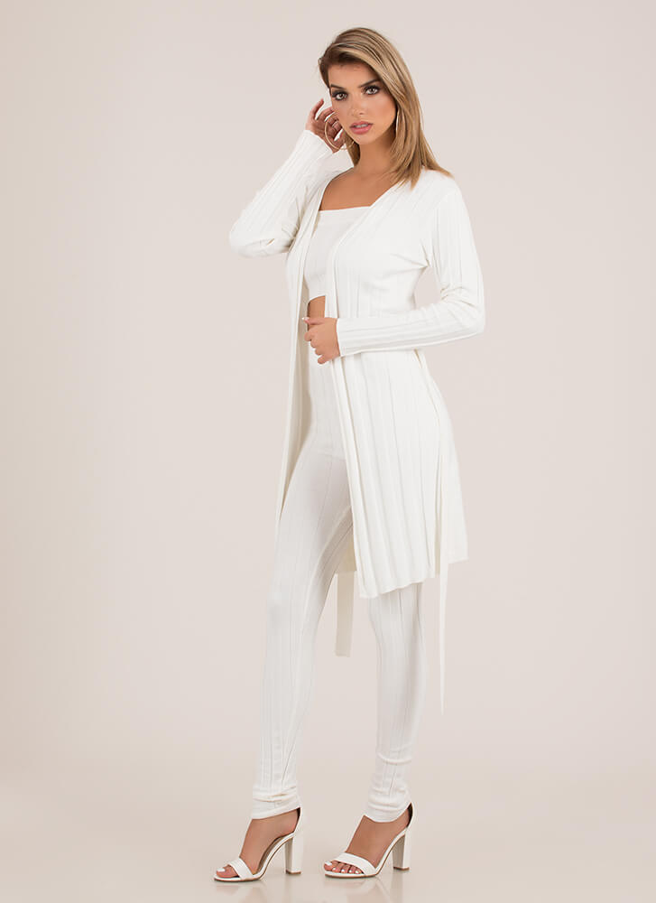 Rib Me Apart 3-Piece Duster Set WHITE