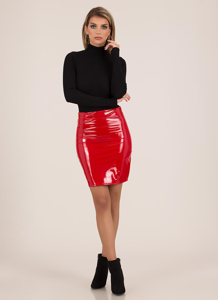 Dangerous Glossy Faux Patent Skirt RED