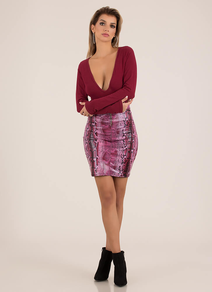 Snake Your Groove Thing Zip-Front Skirt BURGUNDY (You Saved $17)