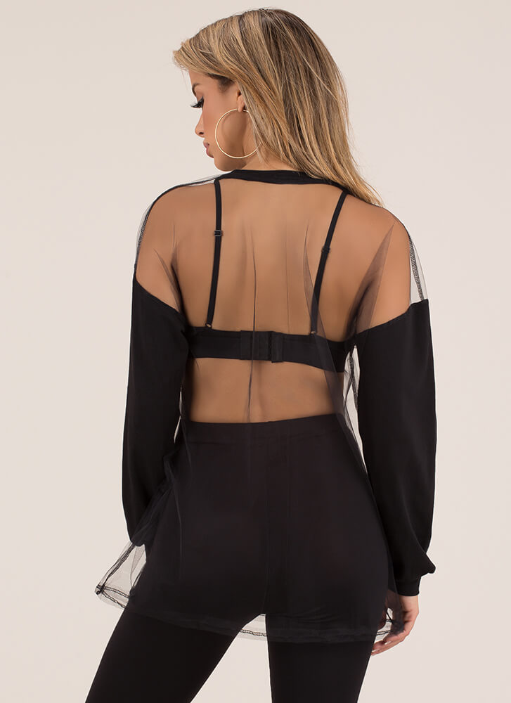 Bare With Me Sheer Colorblock Top BLACK
