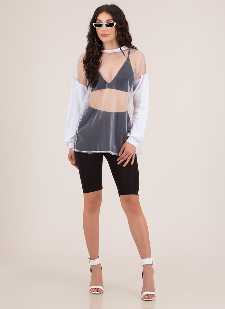 Bare With Me Sheer Colorblock Top WHITE