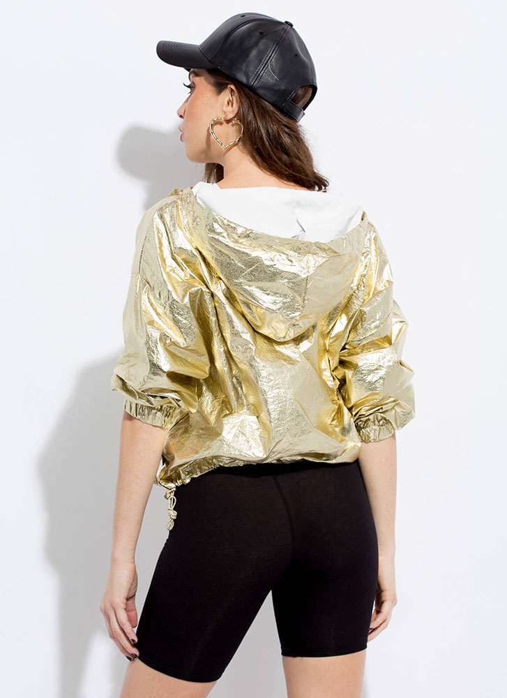 Hi Shine Metallic-Foiled Hoodie GOLD