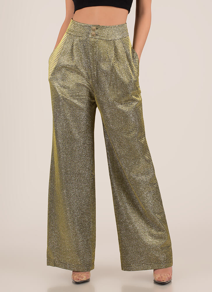 Party Sheen Sparkly Palazzo Pants GOLD