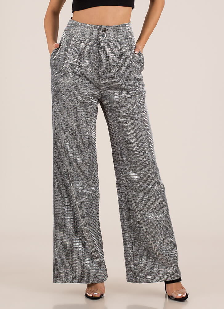 Party Sheen Sparkly Palazzo Pants SILVER