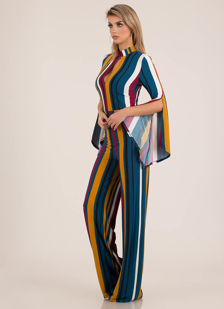 Fun Times Striped Bell Sleeve Jumpsuit TEALMULTI