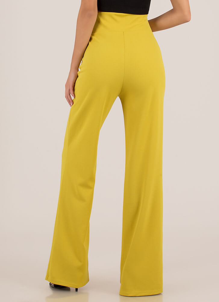 New Bow High-Waisted Wide-Leg Pants CHARTREUSE (You Saved $15)