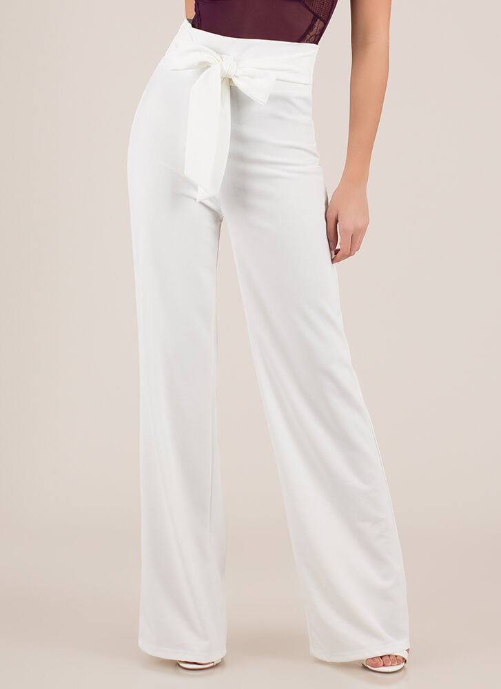 New Bow High-Waisted Wide-Leg Pants IVORY (You Saved $15)